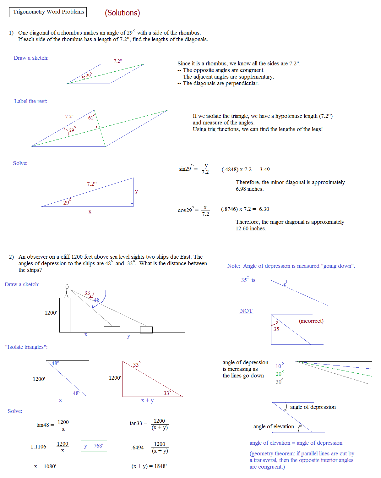 Trig Worksheet Beginners