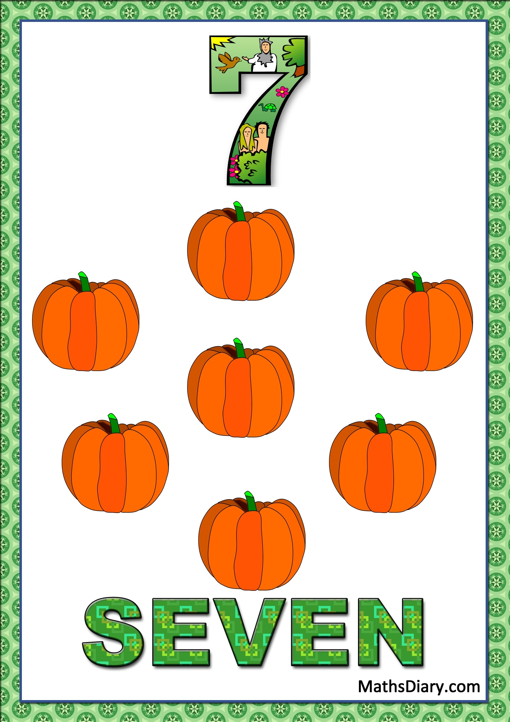Learning Counting And Recognition Of Number 7 Worksheets