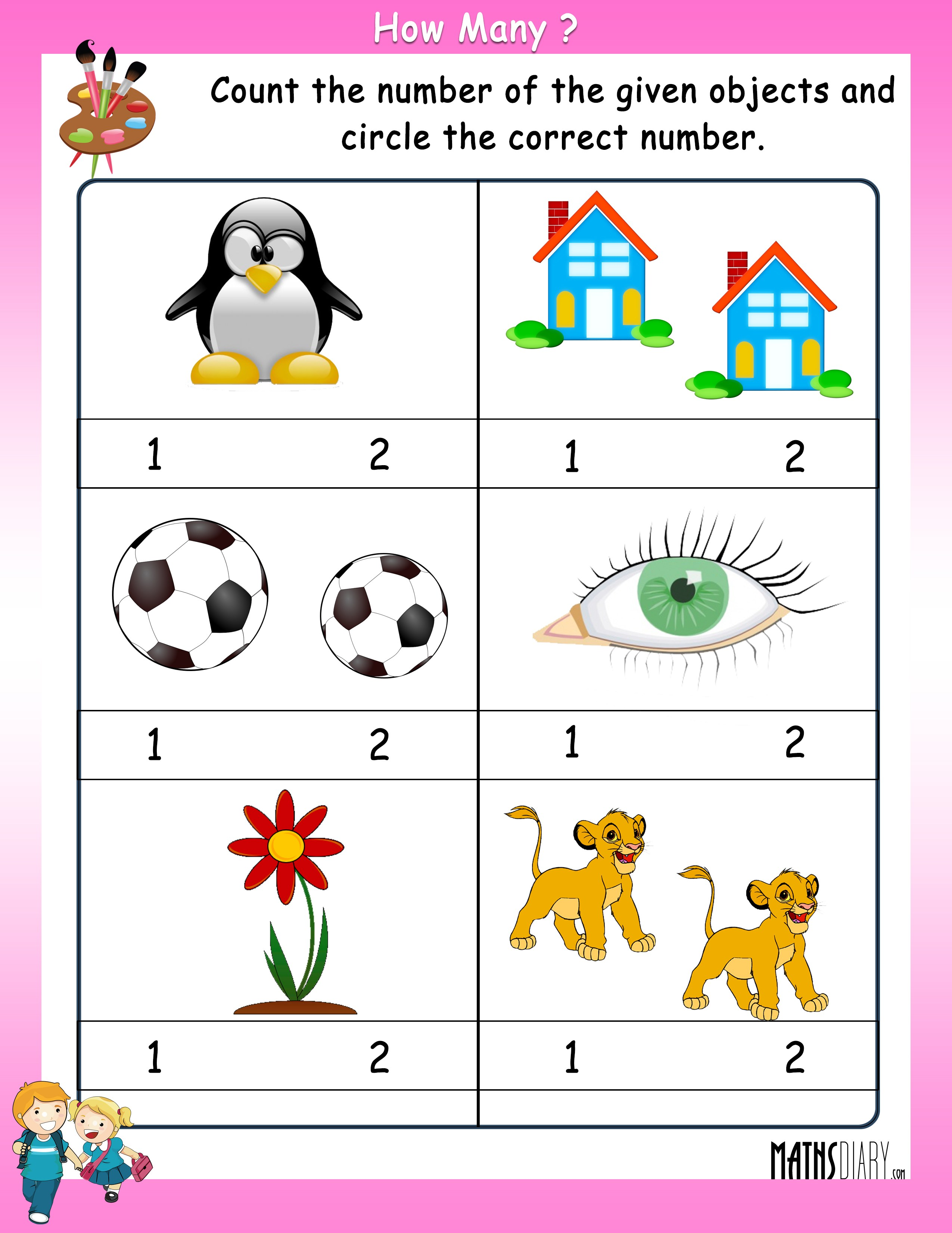 Construction Math Worksheets Counting