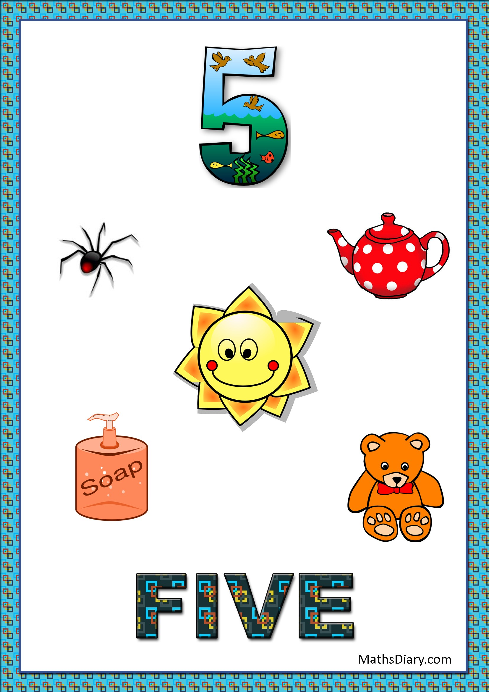 Learning Counting And Recognition Of Number 5 Level 3 Worksheets