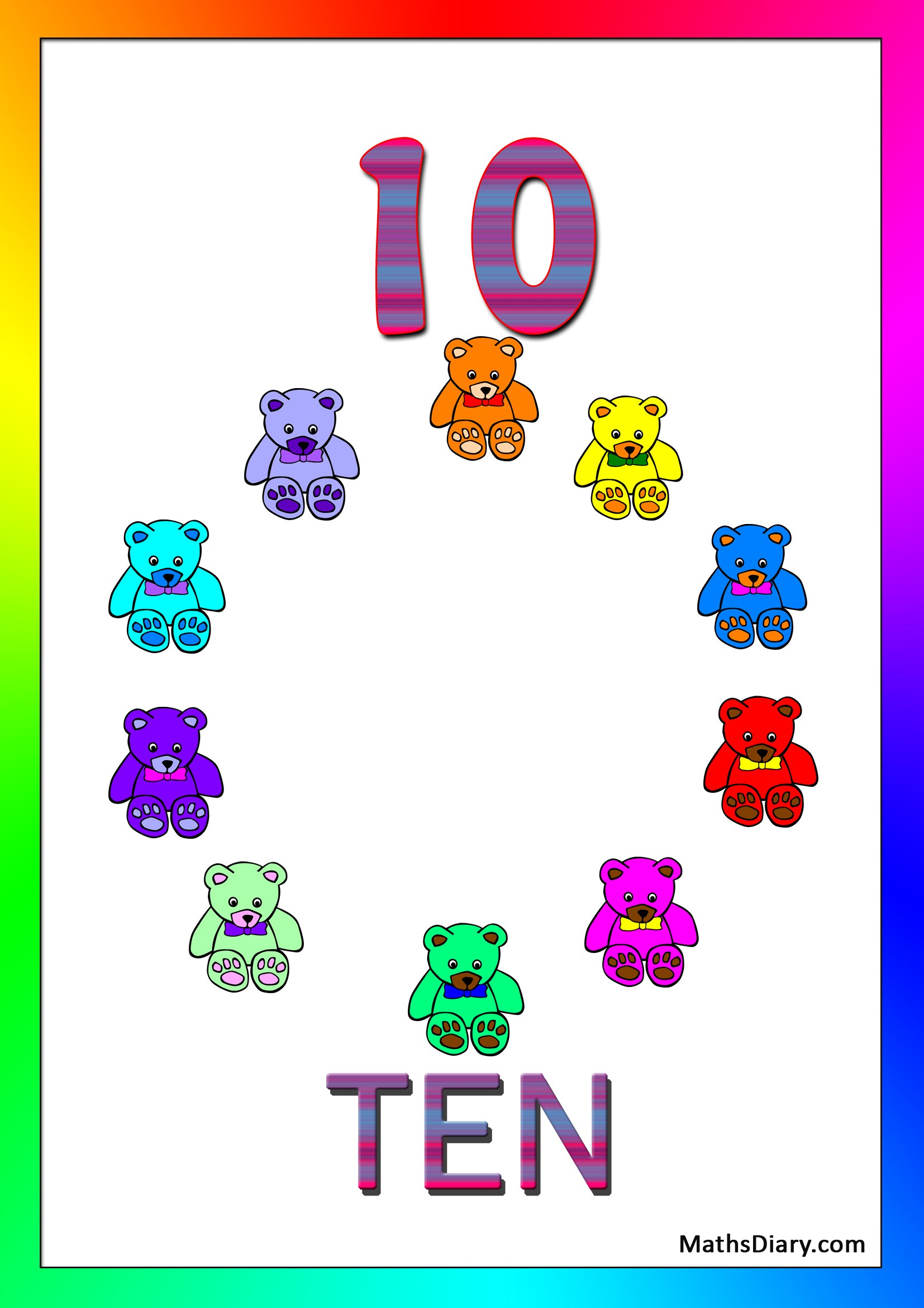 Learning Counting And Recognition Of Number 10 Level 2