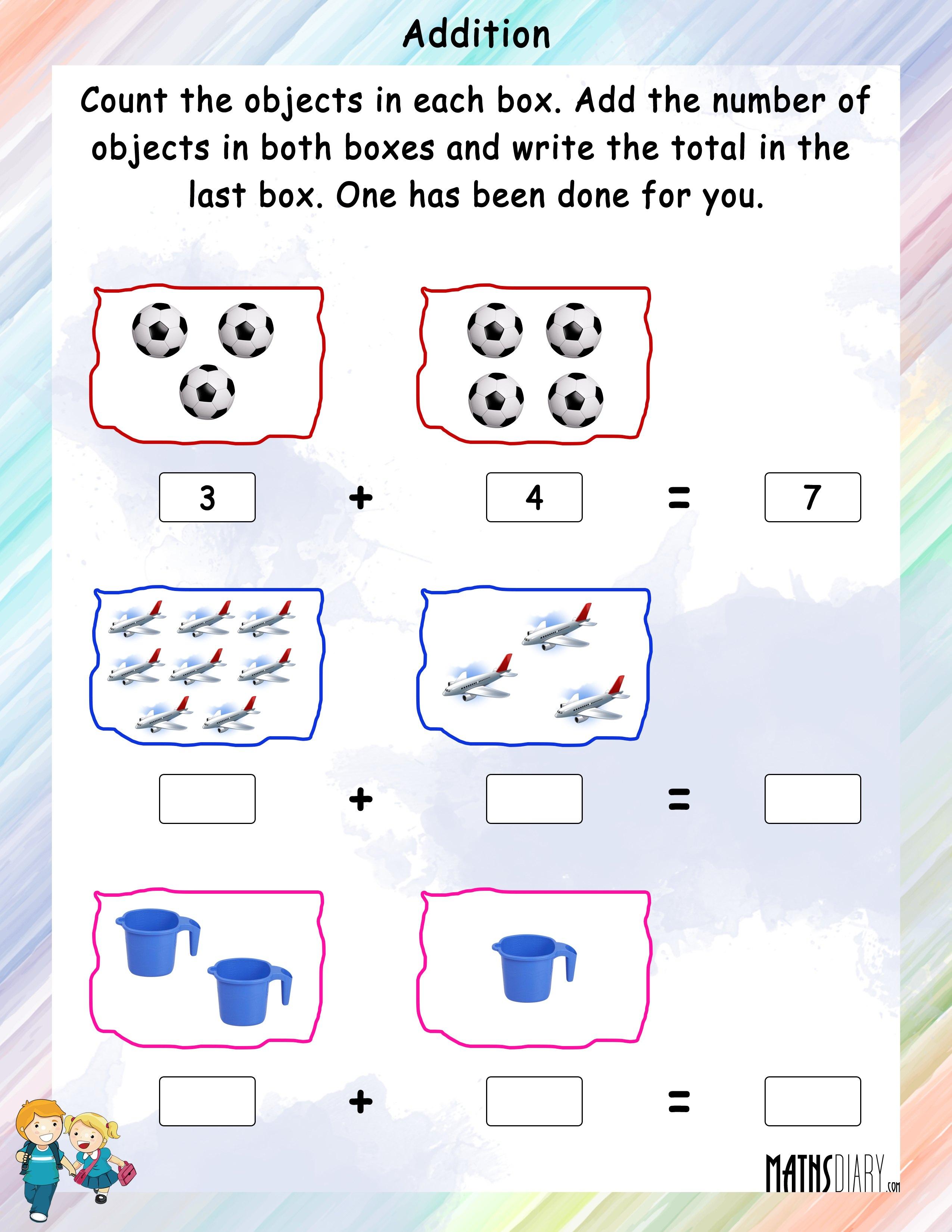 Addition Nursery Math Worksheets