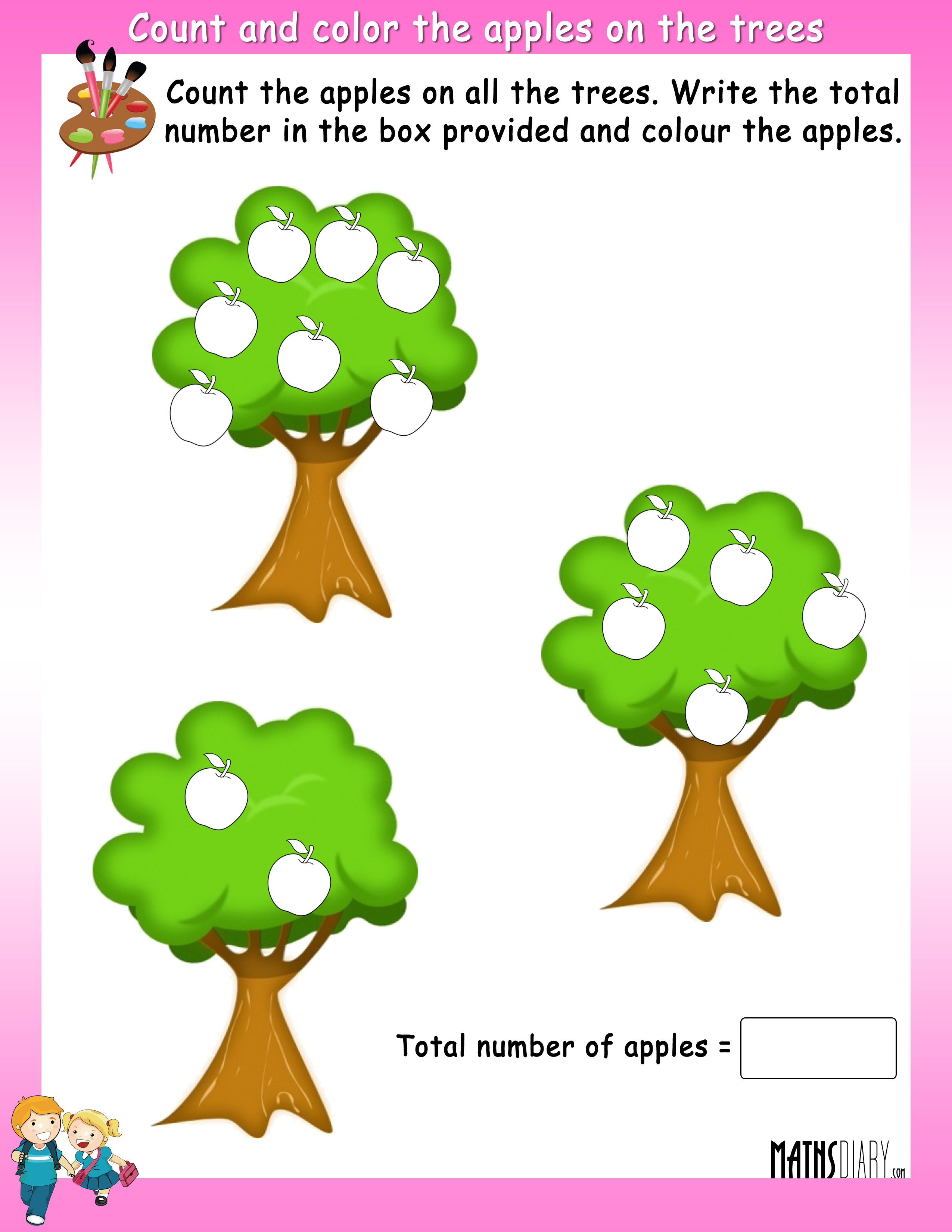Count And Color The Fruits On Trees