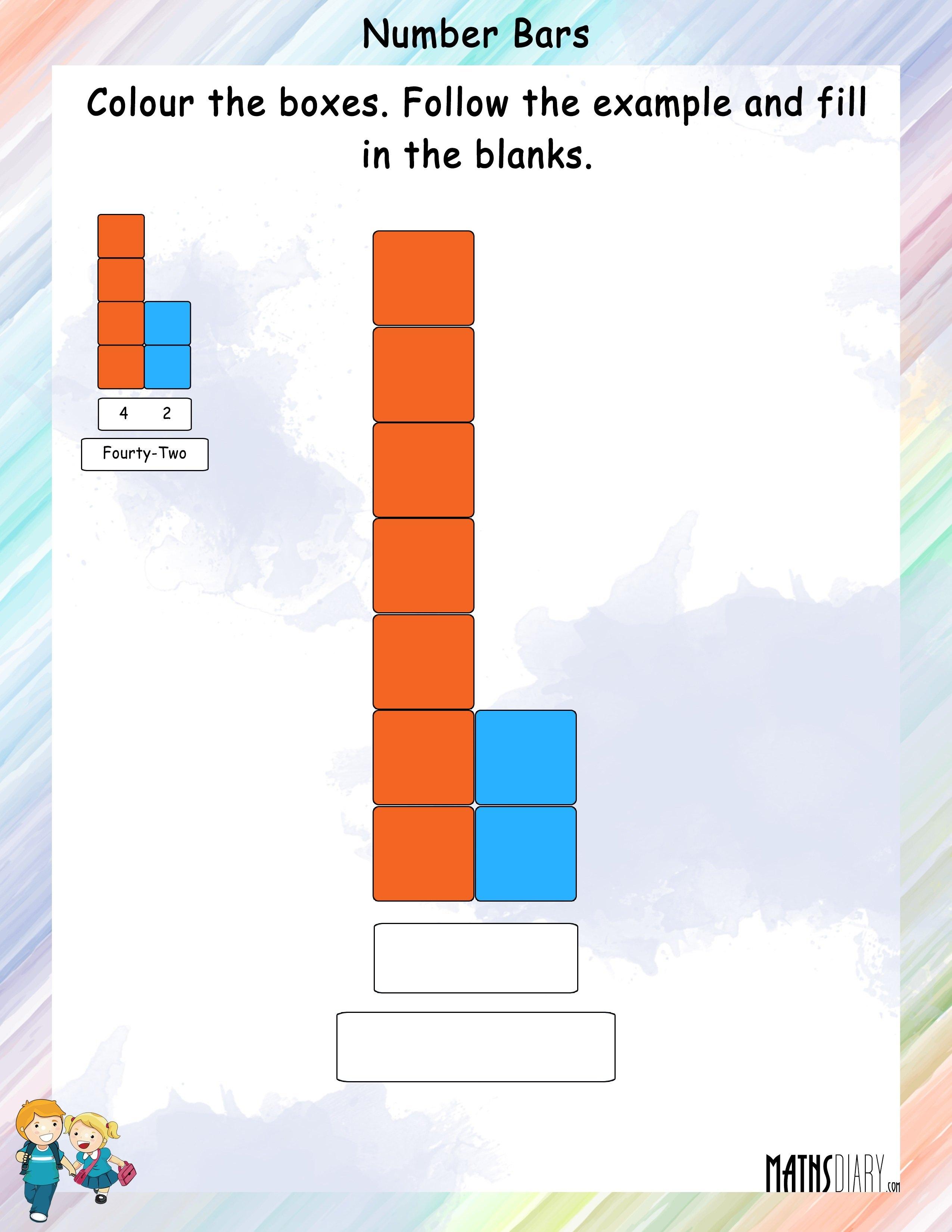 Number Bars Grade 1 Math Worksheets