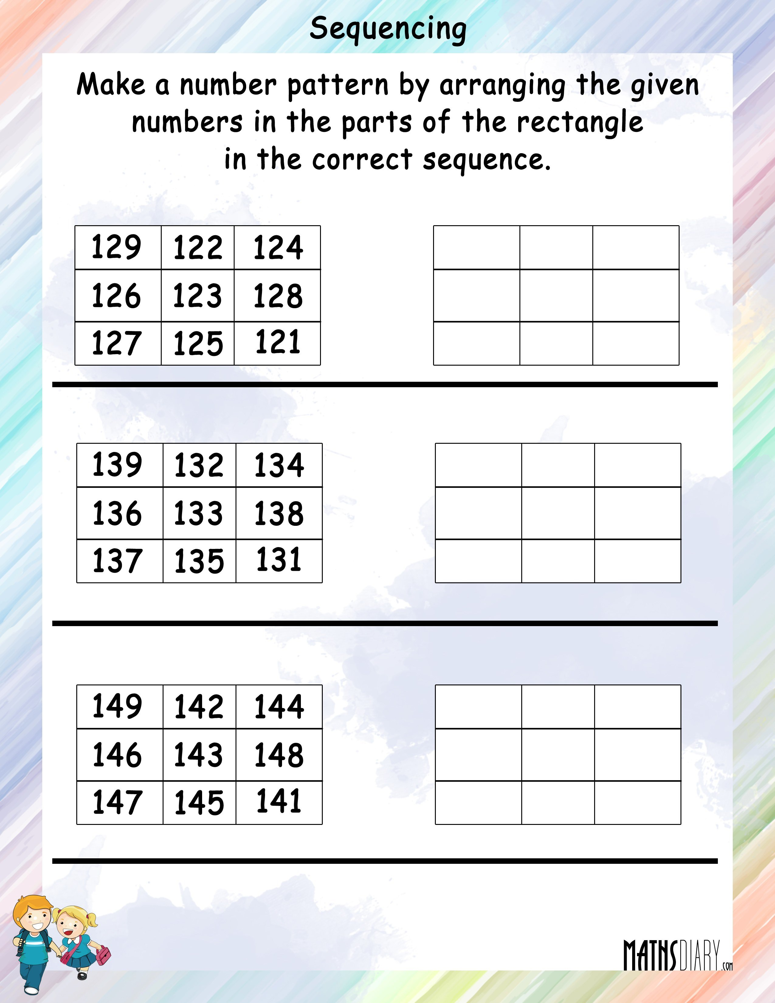 Arrange The Numbers In Sequence In The Rectangle