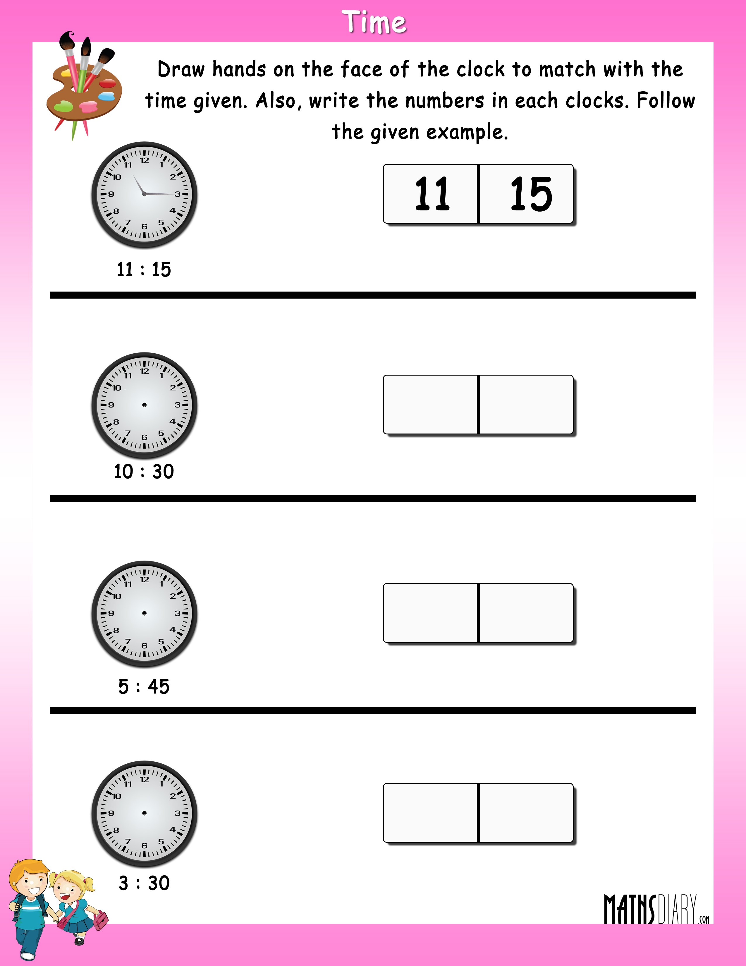 Time Grade 1 Math Worksheets