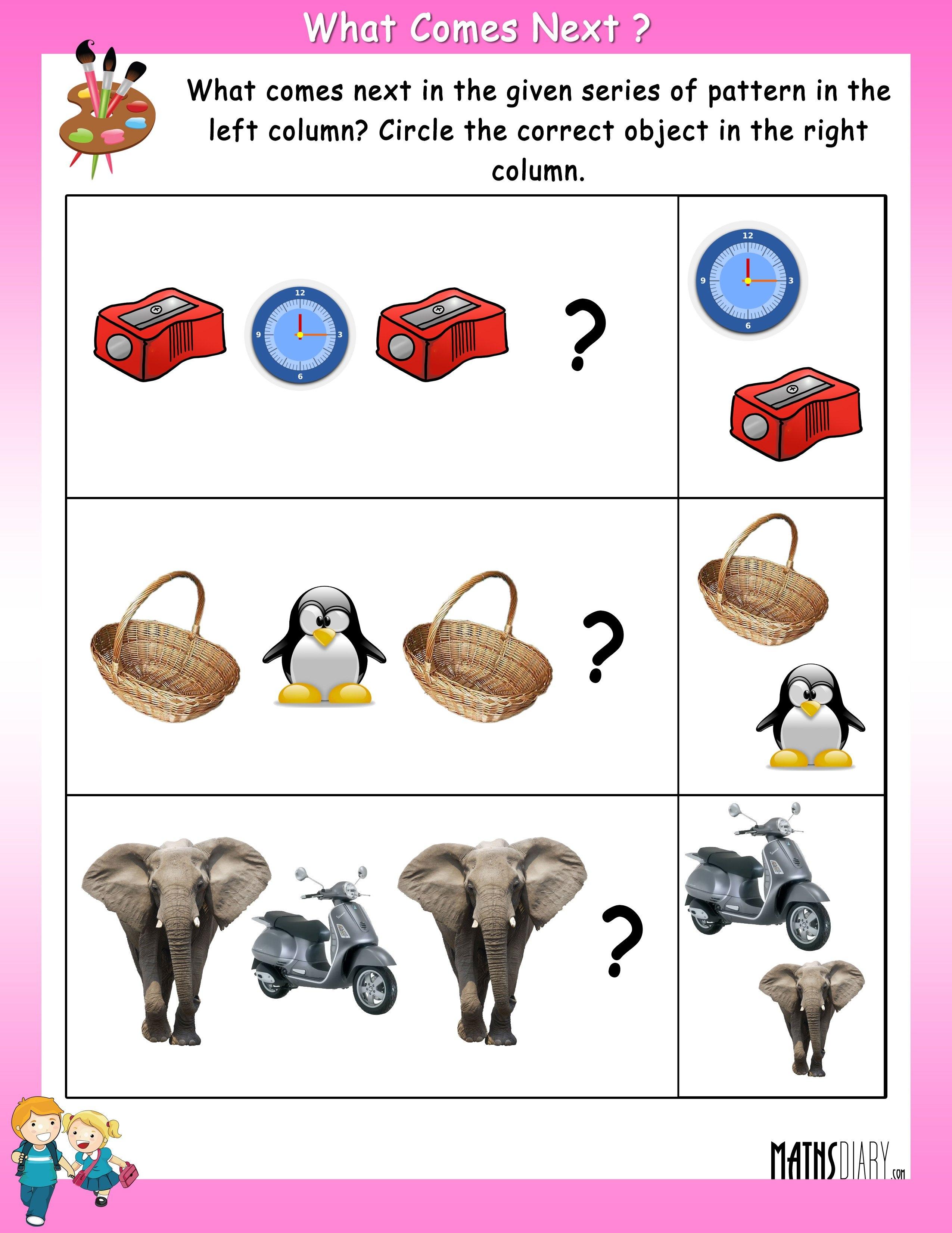 Patterns Ukg Math Worksheets Patterns Best Free