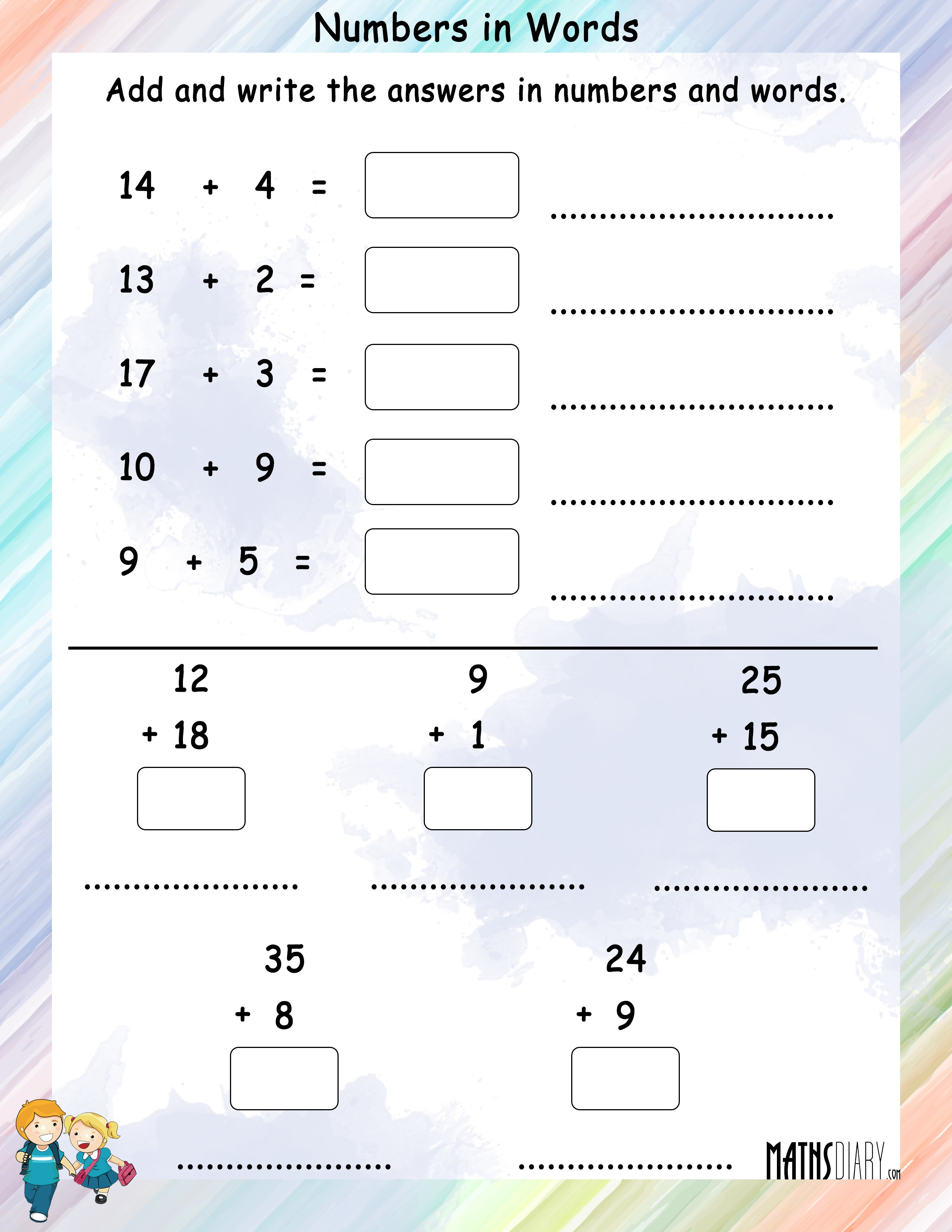 Naming Numbers Grade 1 Math Worksheets