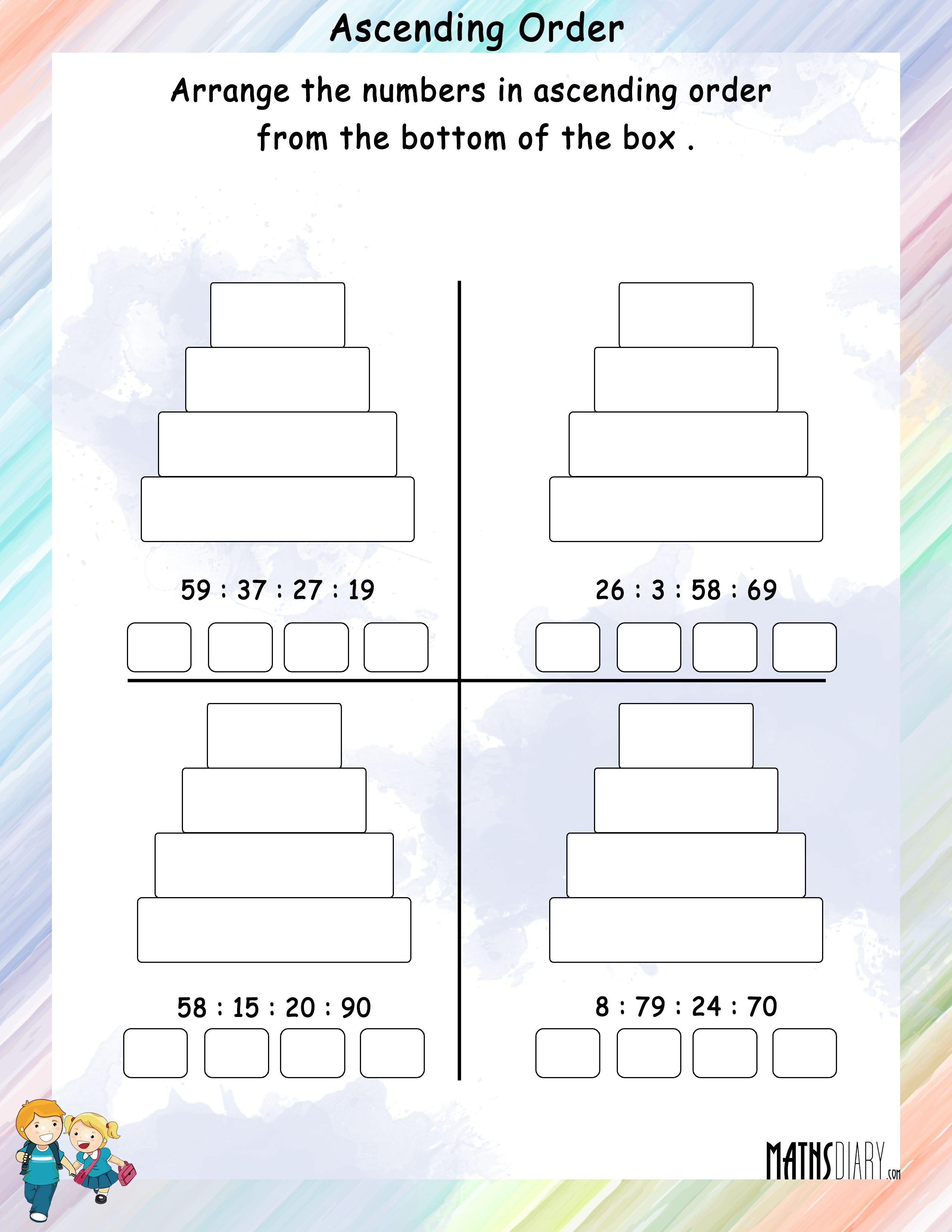 Arrange Numbers In Ascending Order In Boxes