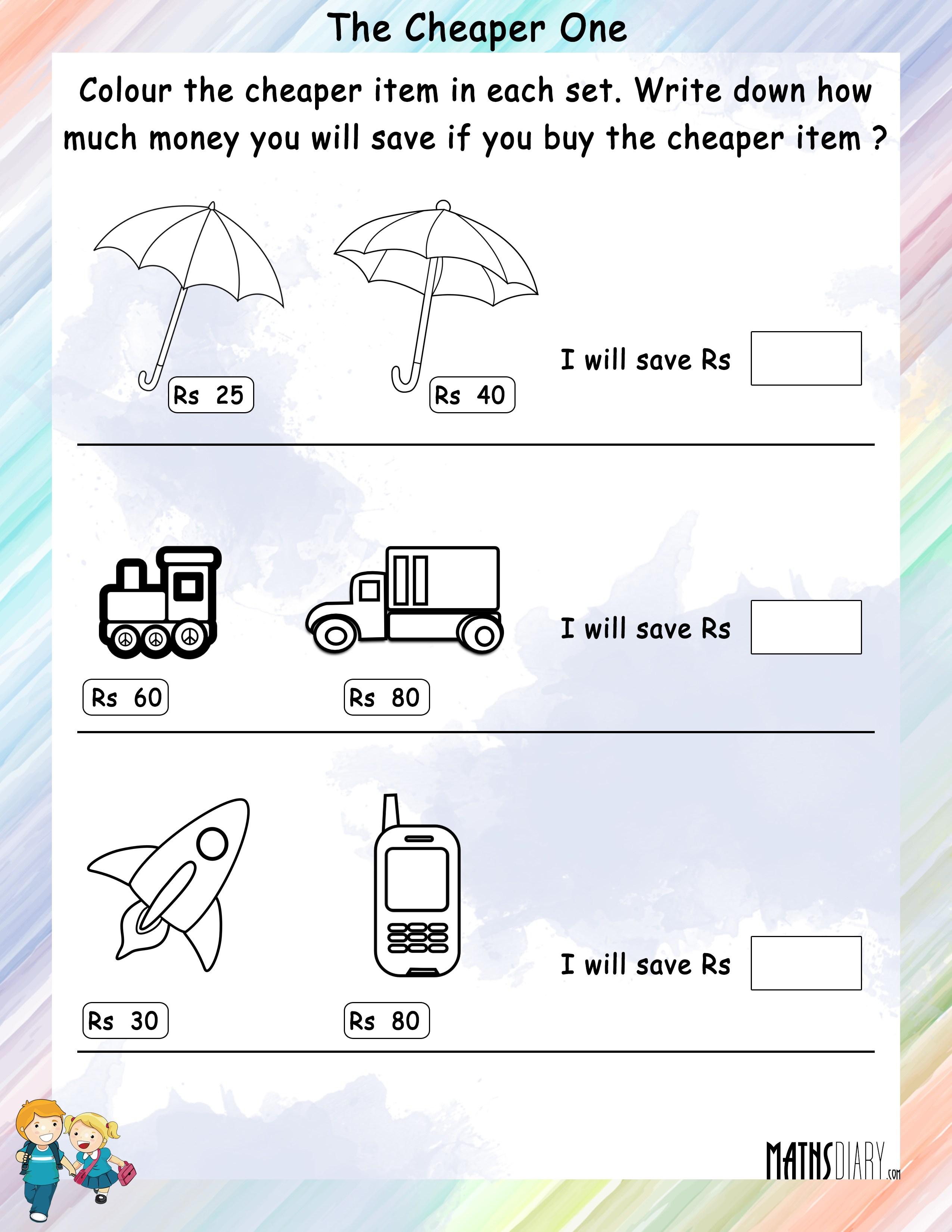 Comparing Grade 1 Math Worksheets
