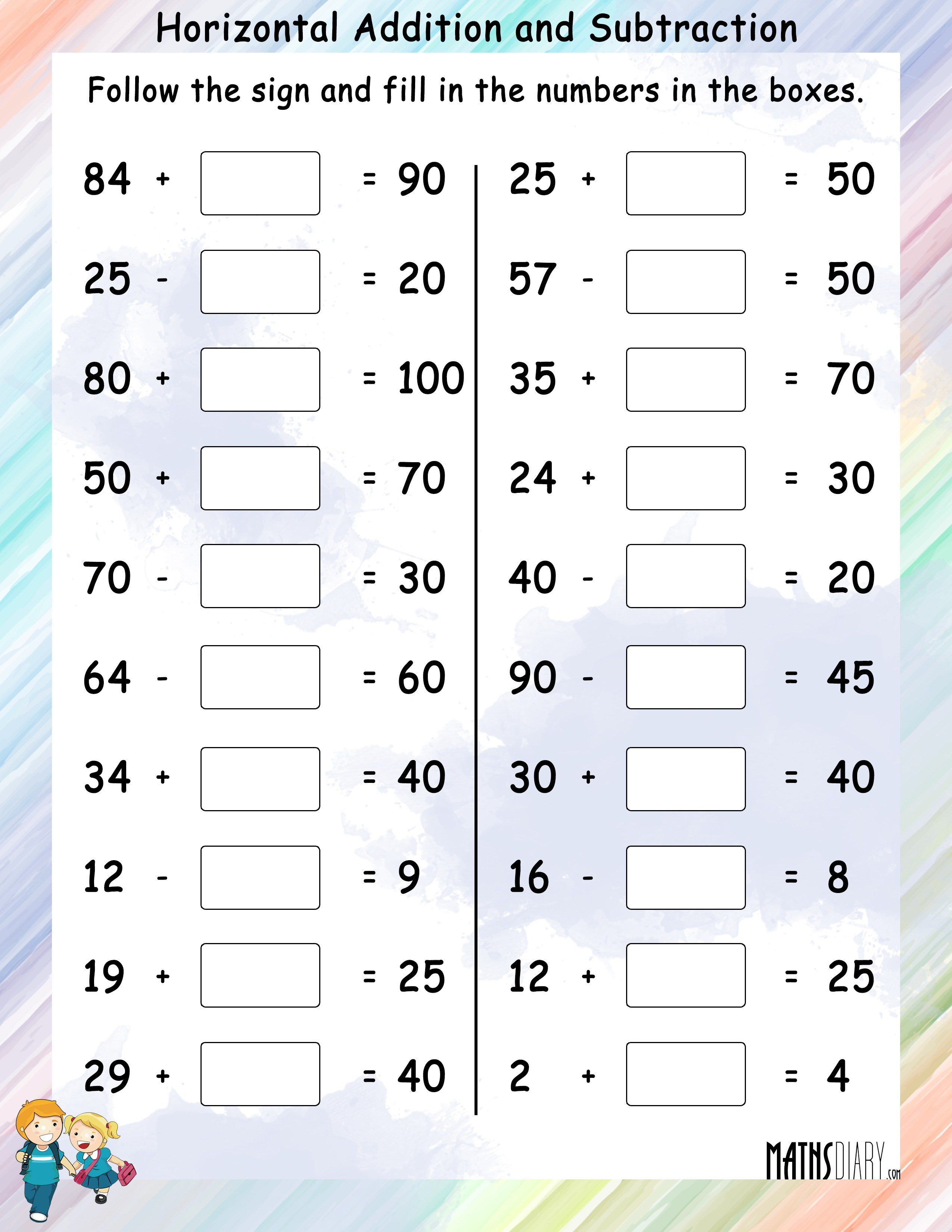 Printable Addition And Subtraction Worksheets For Grade 1