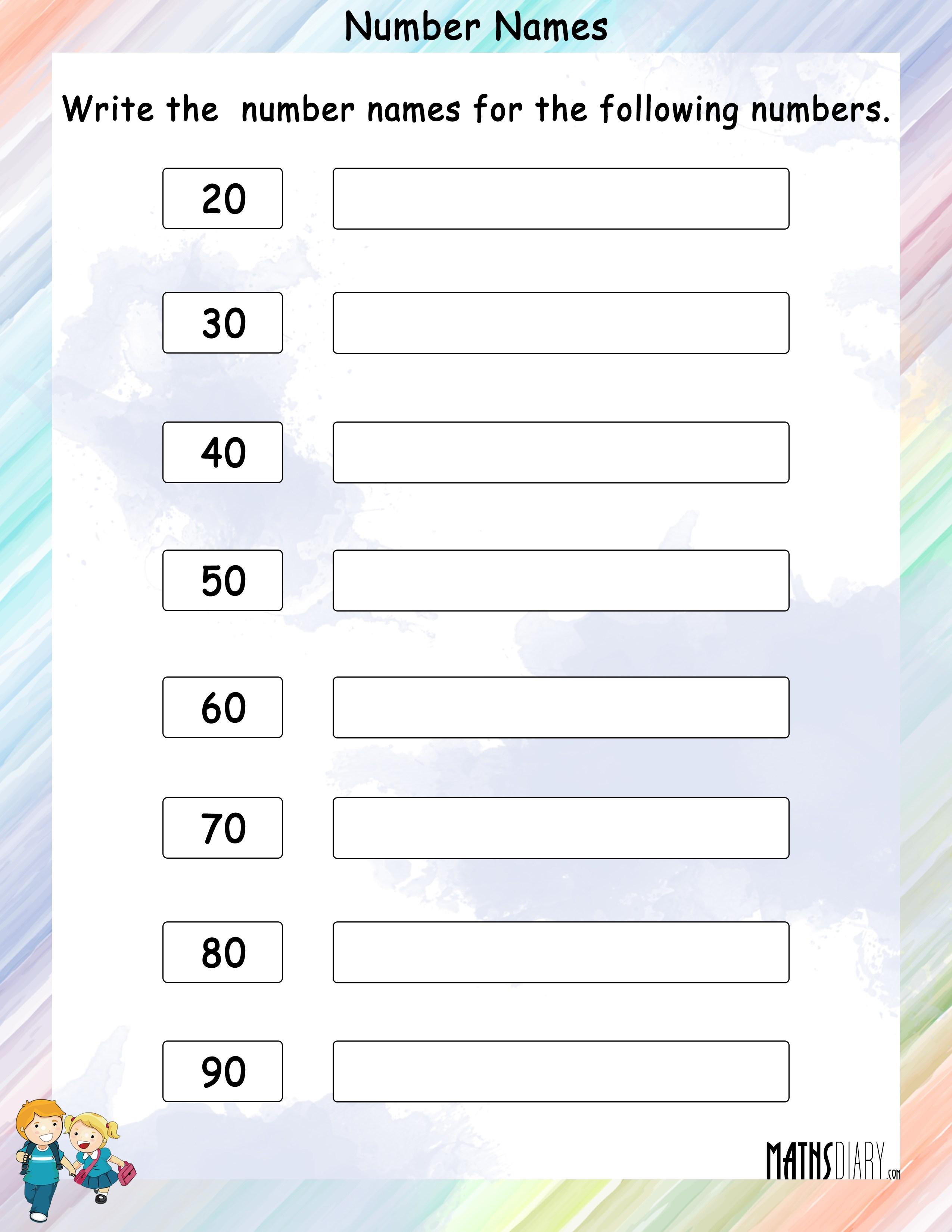 Naming Numbers Grade 1 Math Worksheets