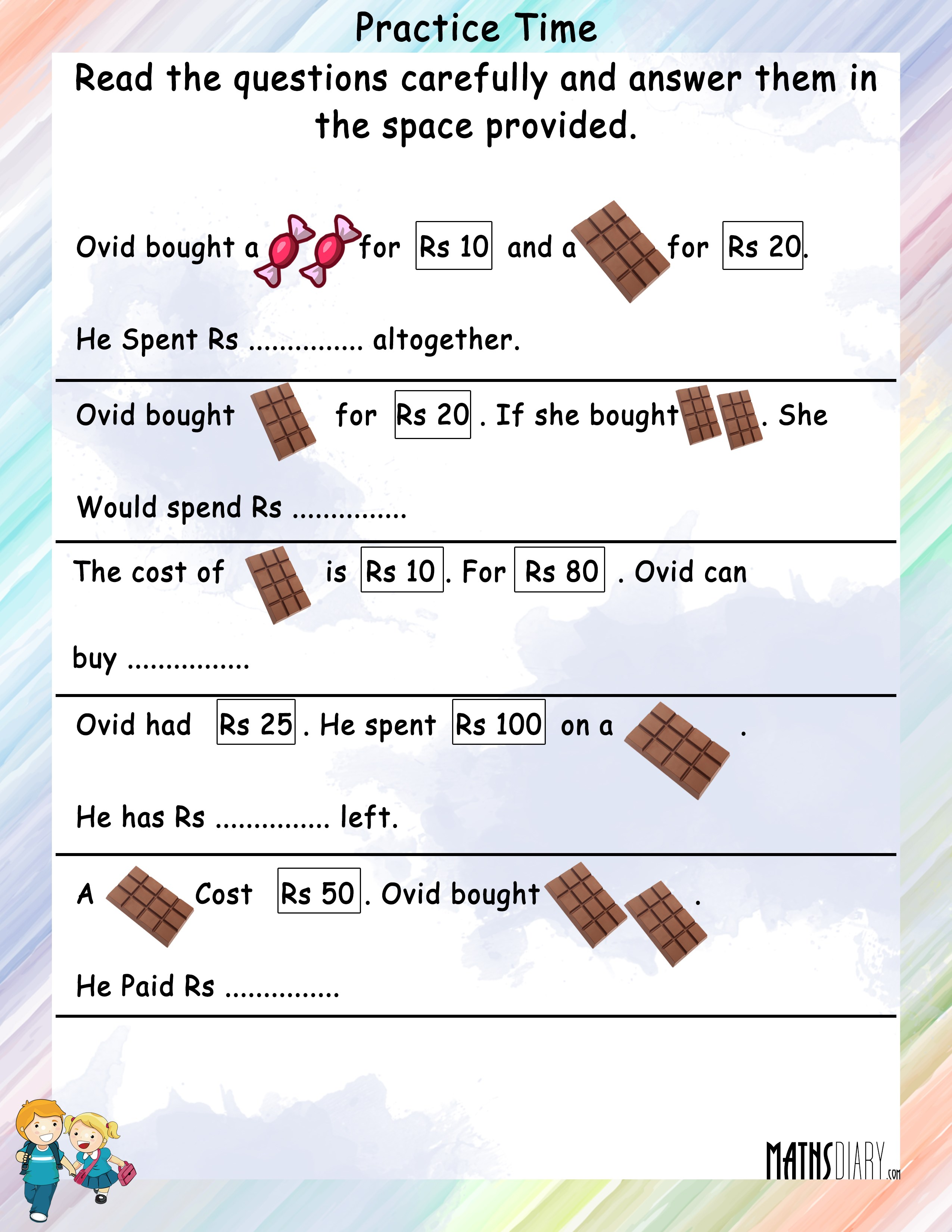 Money Word Problems Worksheet Grade 4