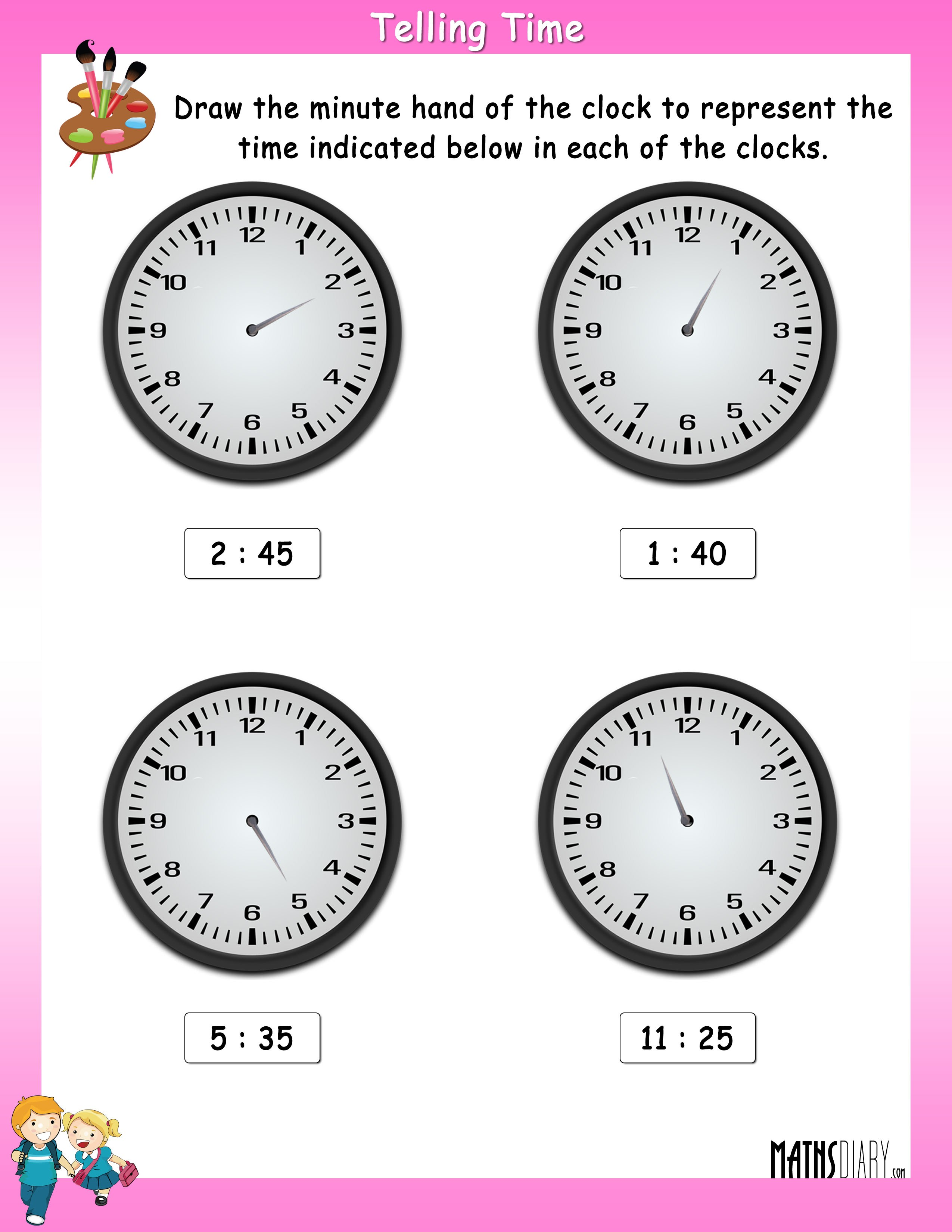 Draw The Minute Hand In The Clock To Show The Indicated