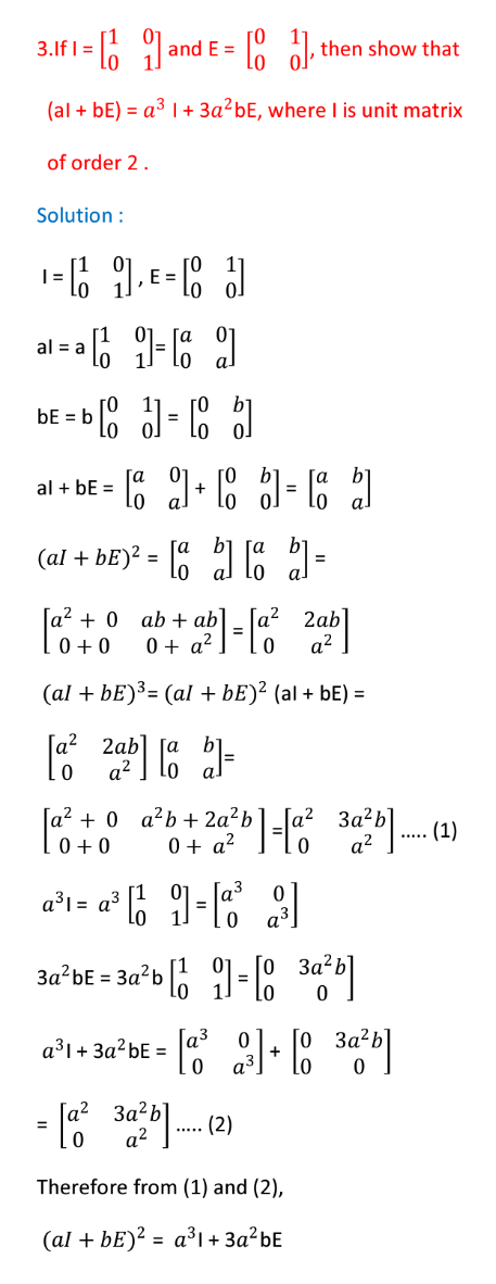 Matrices solutions,inter maths 1a chapter 3 solutions - Maths Glow