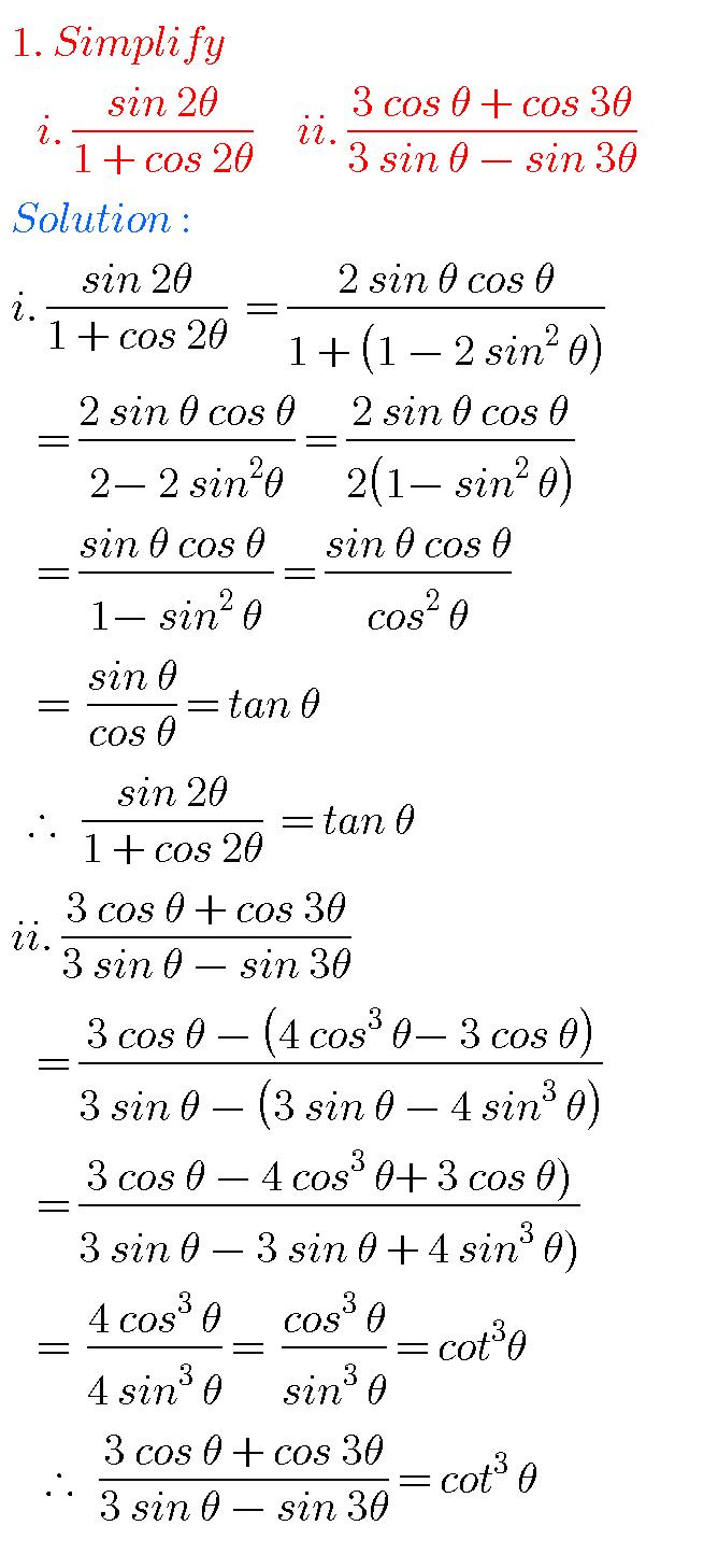 Trigonometric ratios upto transformations,intermediate first