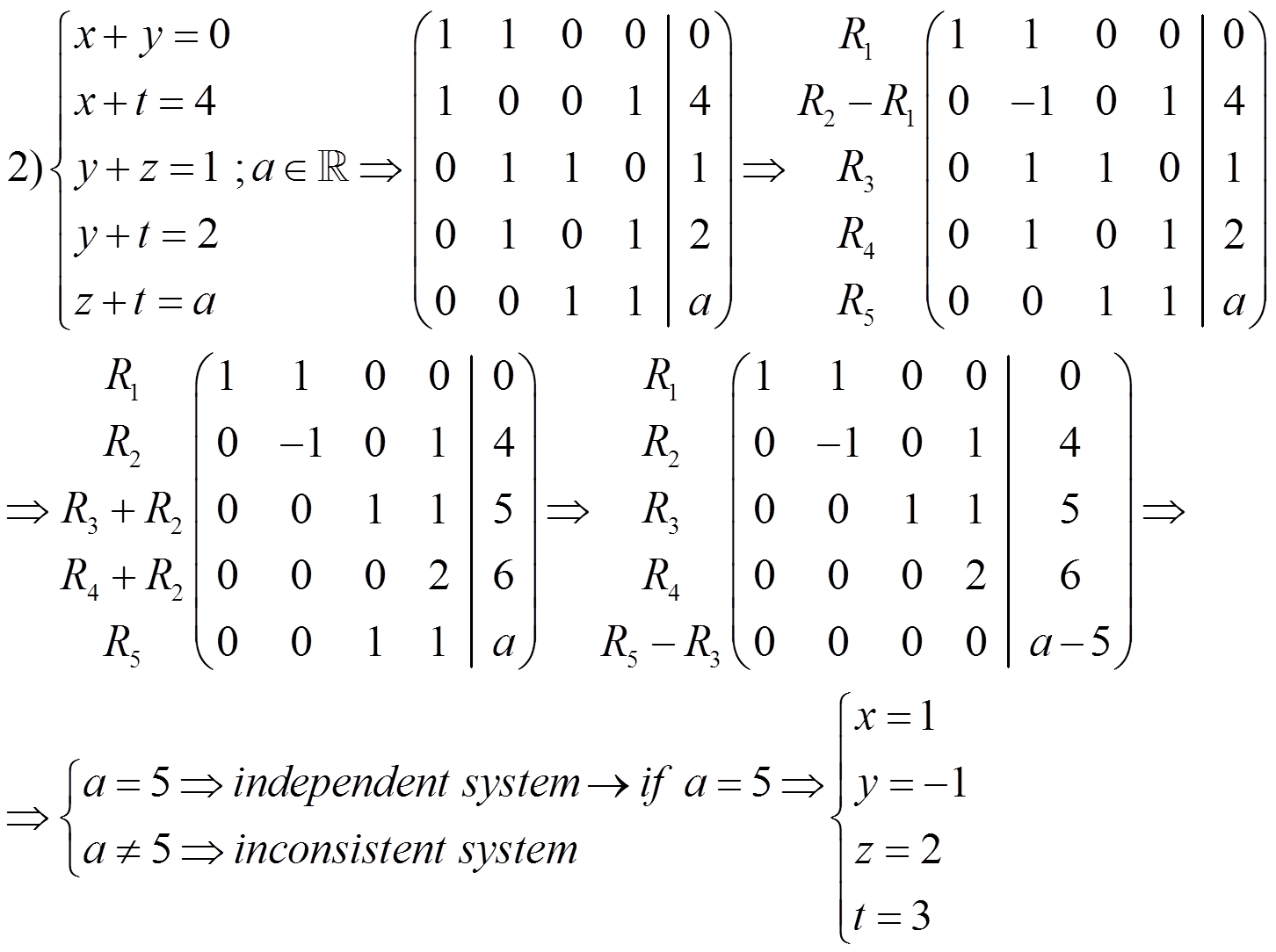 Solve The Following System Of Equations By Gaussian