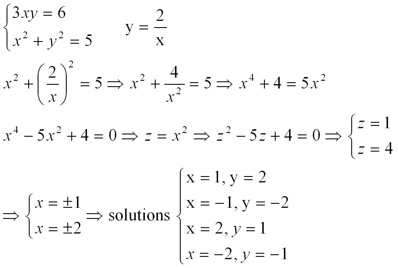 Systems Of Quadratic Equations