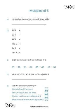 Multiples of 5 worksheet pdf