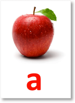 The cost of an apple can be represented with the variable a