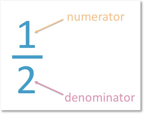 the numerator of one half is 1 and the denominator of one half is 2
