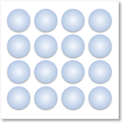 an array of 16 counters for teaching multiplication arrays