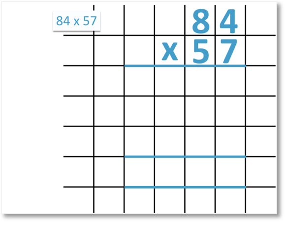 84 x 57 setting out long multiplication