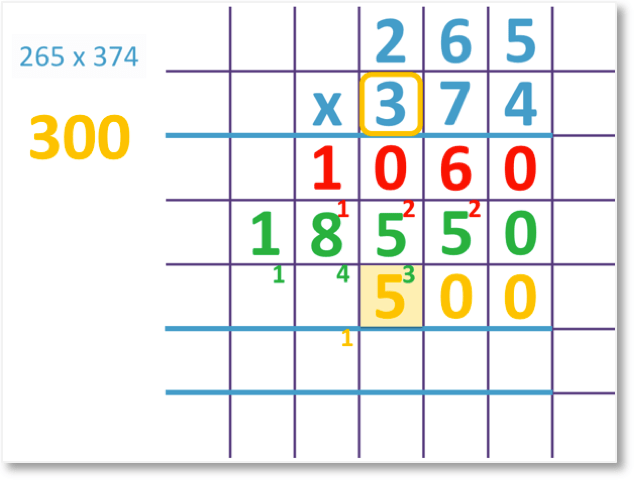 265 x 374 set out as a long multiplication