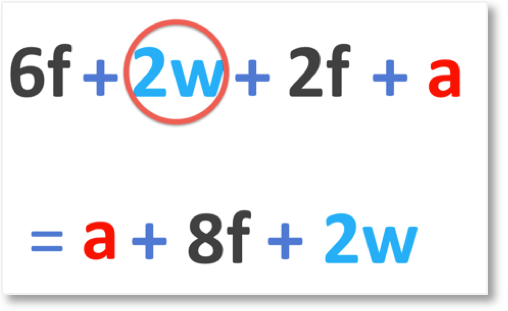 6f + 2w + 2f + a = a + 8f + 2w when we collect like terms