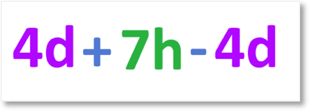 4d + 7h - 4d algebra terms in an expression