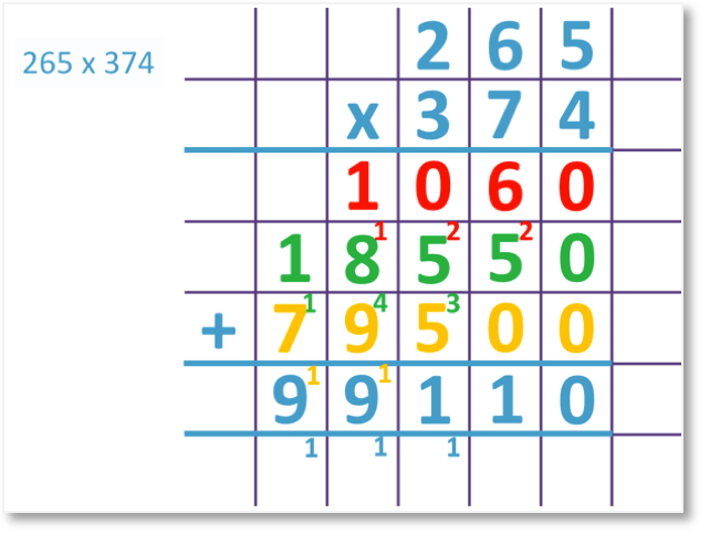 265 x 374 = 99110 set out as a long multiplication