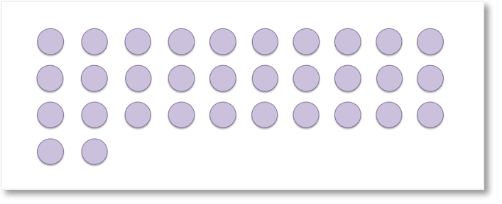 32 counters to be grouped into tens and units