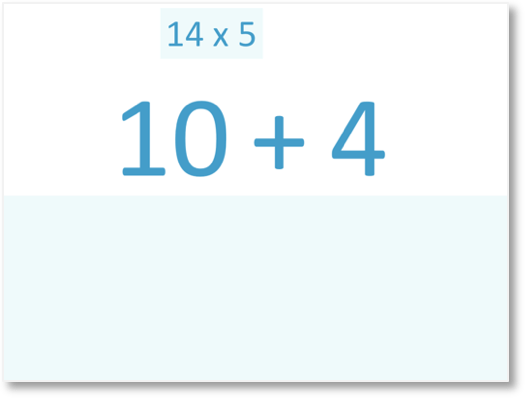 14 x 5 multiplied by partitioning 14 into 10 and 4
