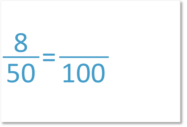 8 out of 50 as an equivalent fraction out of 100