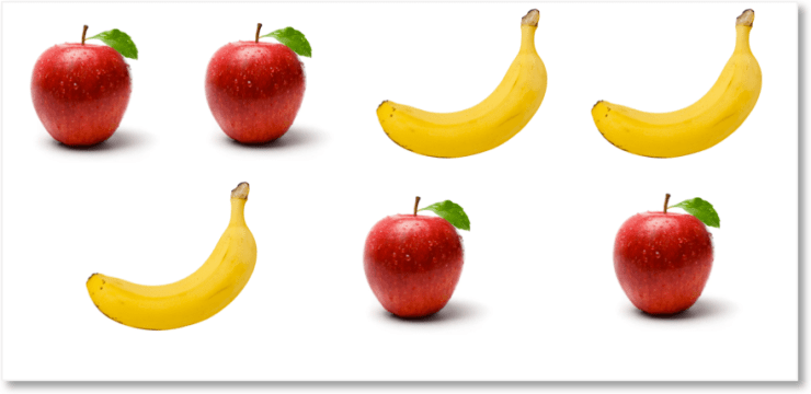 4 apples and 3 bananas in a mixed order