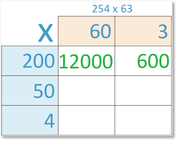 grid method of multiplication of 254 x 63 with 3 x 200 = 600 shown