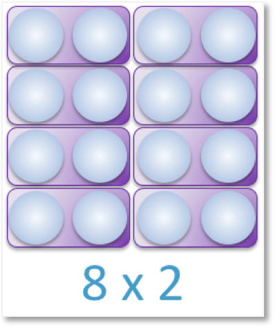 a multiplication array of 16 counters arranged as 8 equal groups of 2