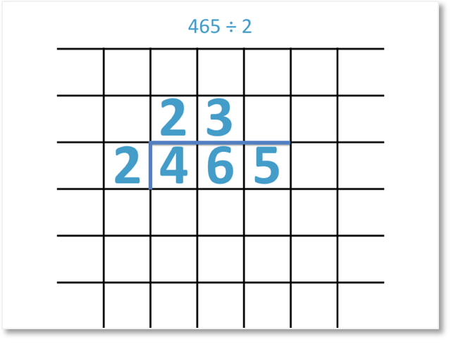 465 divided by 2 shown as a short division