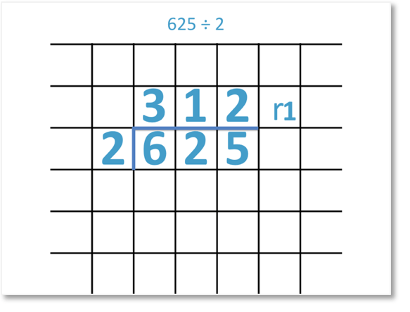 625 divided by 2 = 312 remainder 1, set out as a short division