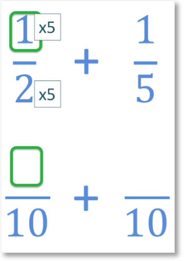 one half add one fifth by finding equivalent fractions with a common denominator