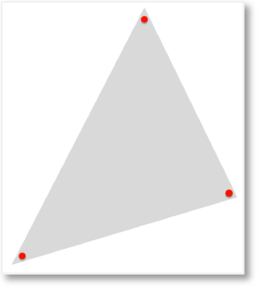 A triangle with its angles marked