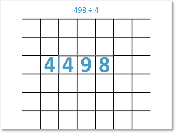 498 divided by 4 set out with the short division method