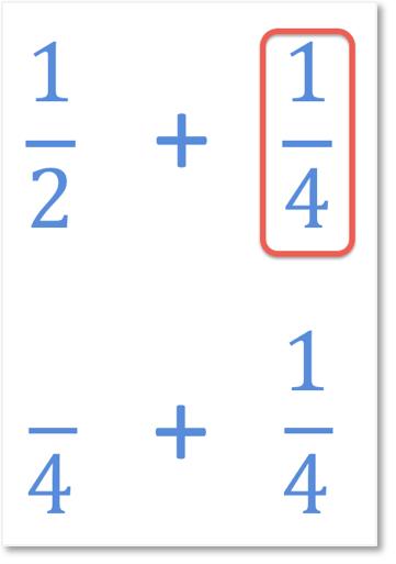 steps to add one half add one quarter