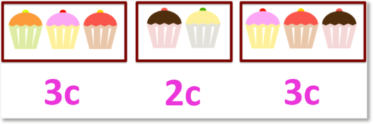 8 cakes in groups of 3 and 2 with 3 cakes worth 3c and 2 cakes worth 2c