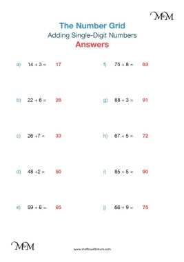 adding single digit numbers pdf worksheet answers