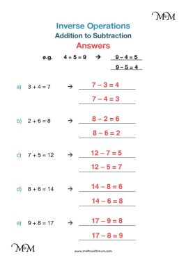 Writing Subtraction Number Sentences Worksheets answers