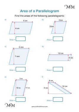 area of a parallelogram worksheet pdf