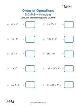 bidmas indices examples worksheet