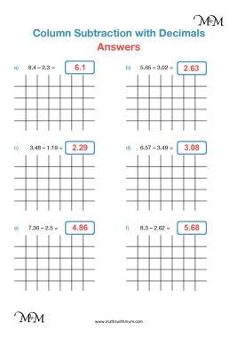 subtracting decimals worksheet answers pdf