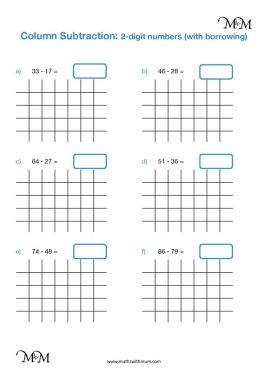 2 digit subtraction with regrouping worksheet pdf